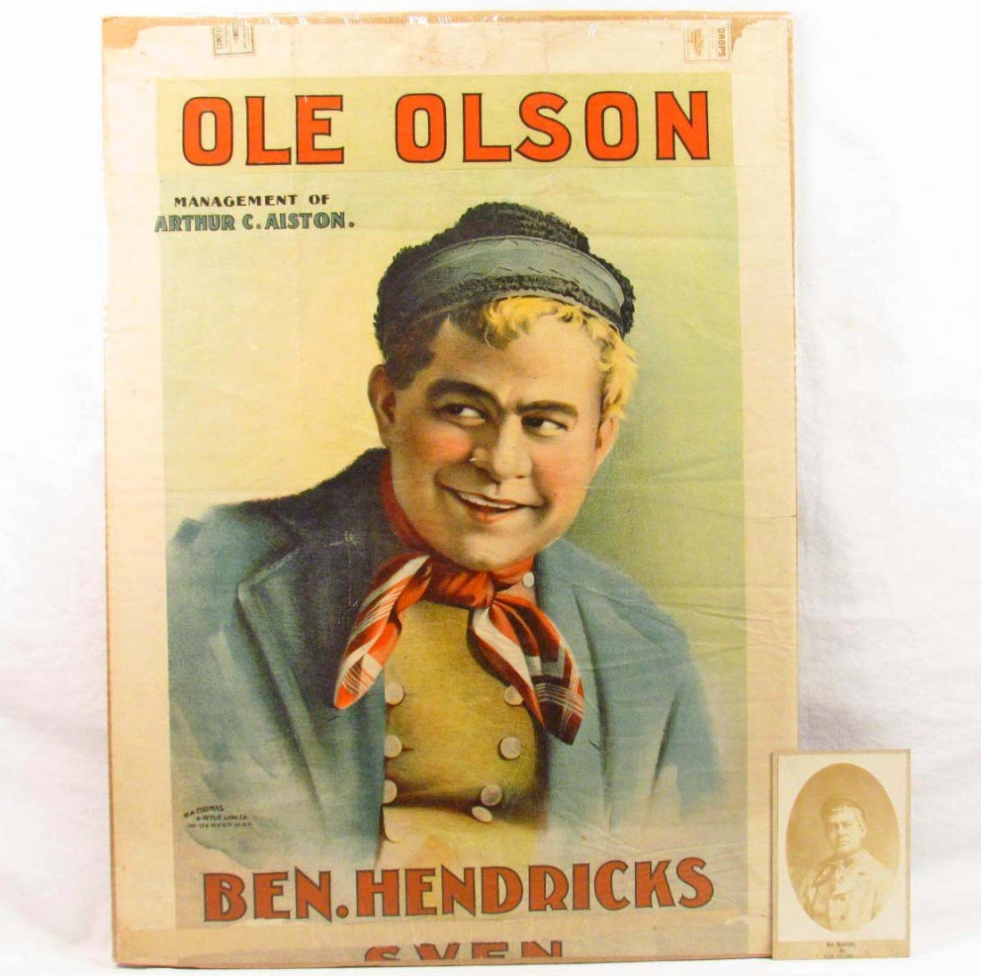 355: RARE VINTAGE POSTER AND PHOTO OF BEN HENDRICKS IN