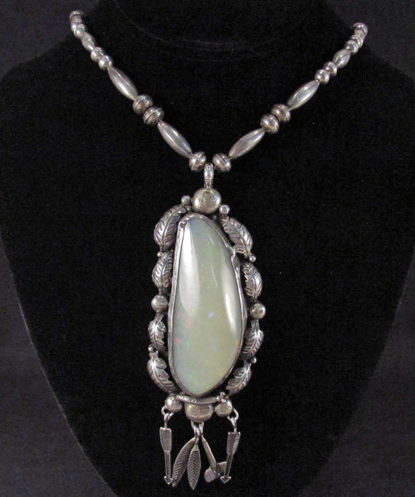 363: HUGE OPAL AND SILVER NATIVE AMERICAN NECKLACE - SI