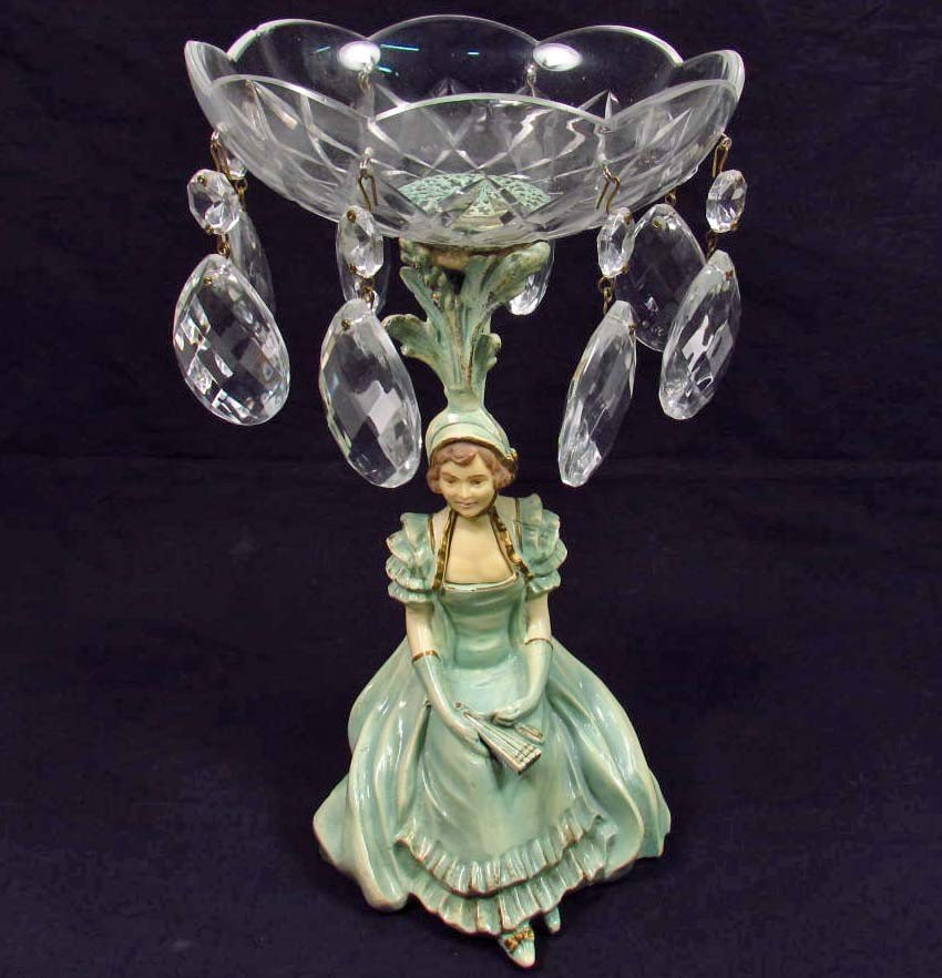 423: VINTAGE ART DECO CAST IRON AND GLASS  FIGURAL DISH