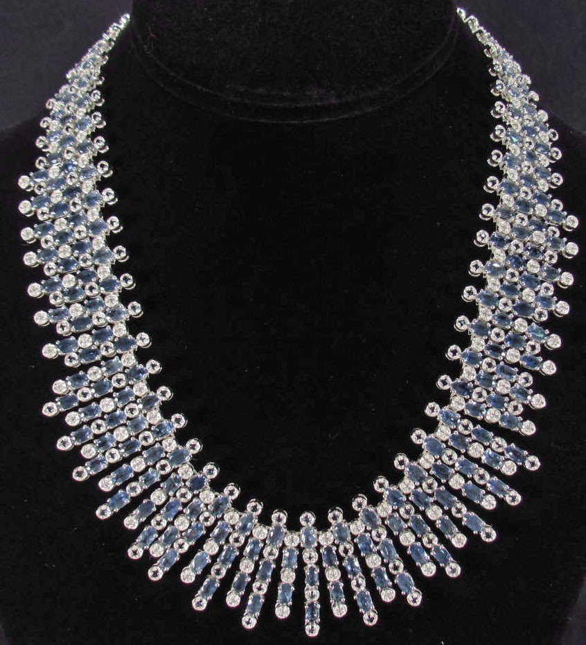 426: STERLING SILVER SAPPHIRE AND DIAMOND NECKLACE