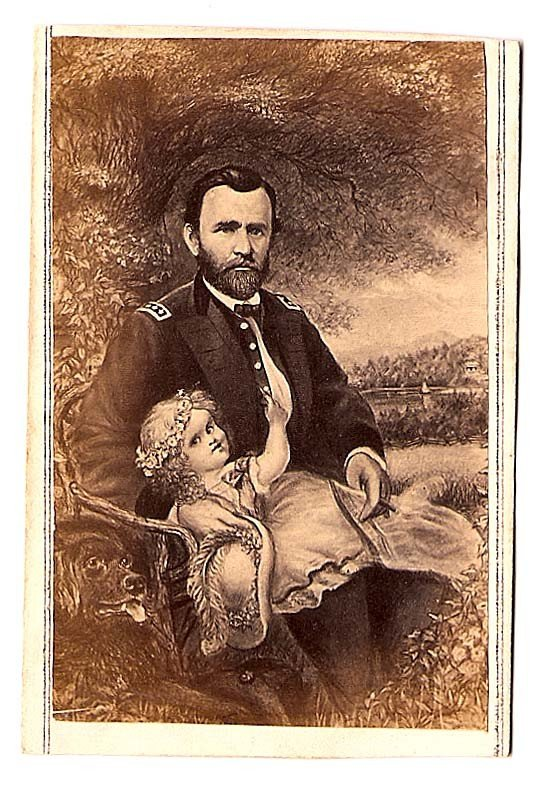 42: Ulysses S. Grant sitting with baby on lap and dog b