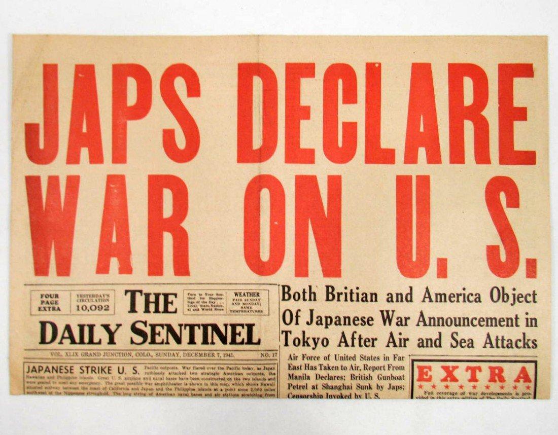 "3: 1941 NEWSPAPER ""JAPS DECLARE WAR ON U.S."" HEADLINE"