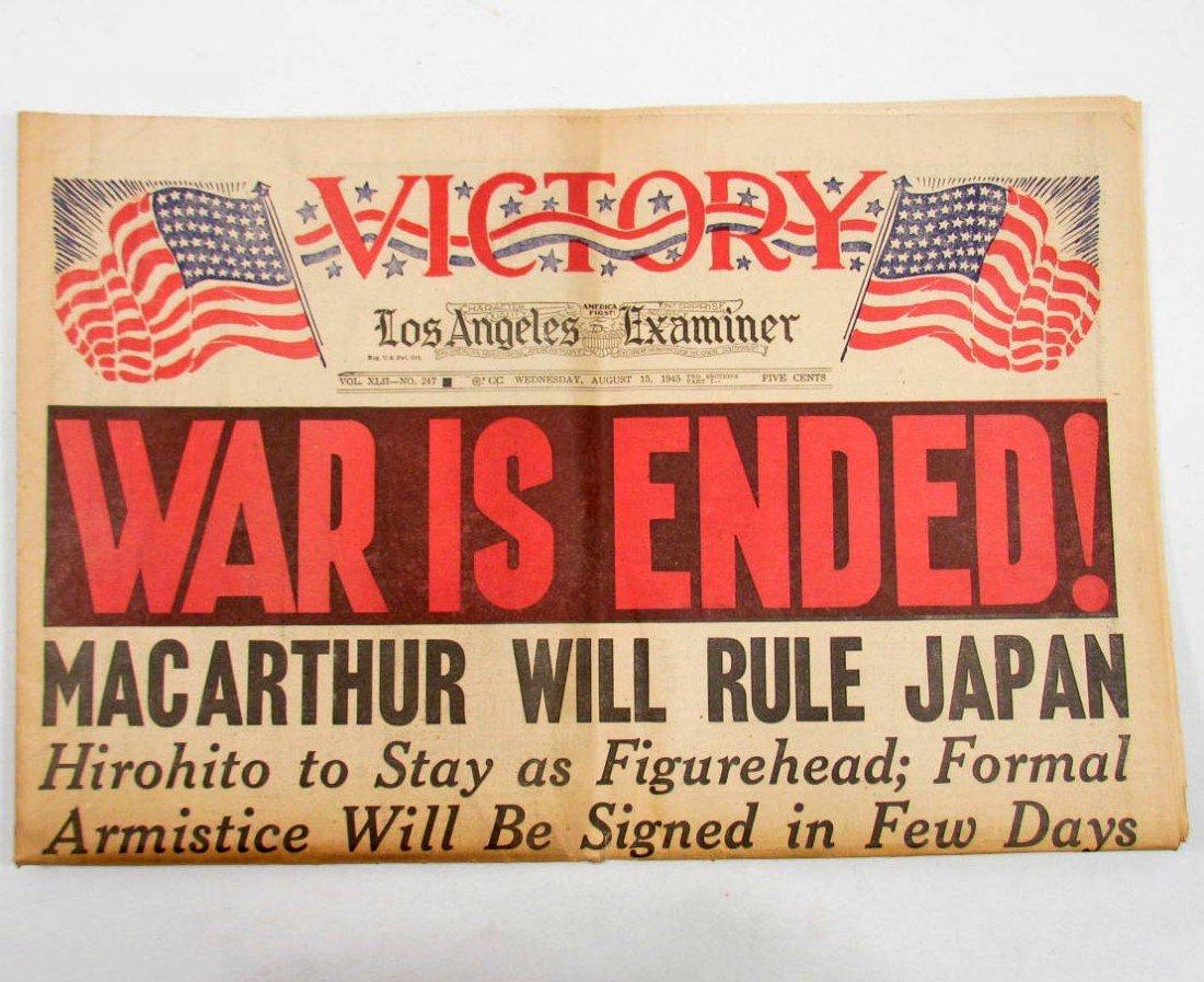 "12: 1945 NEWSPAPER ""WAR IS ENDED! MACARTHUR WILL RULE J"