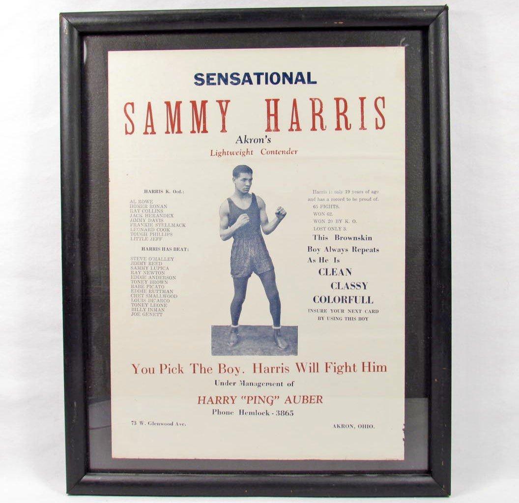 20: VINTAGE SAMMY HARRIS BOXING ADVERTISING POSTER / FL