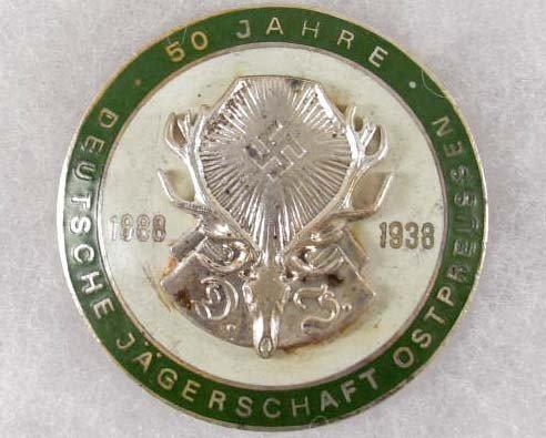 22: GGERMAN NAZI 50 YEAR HUNTING ASSOCIATION BADGE