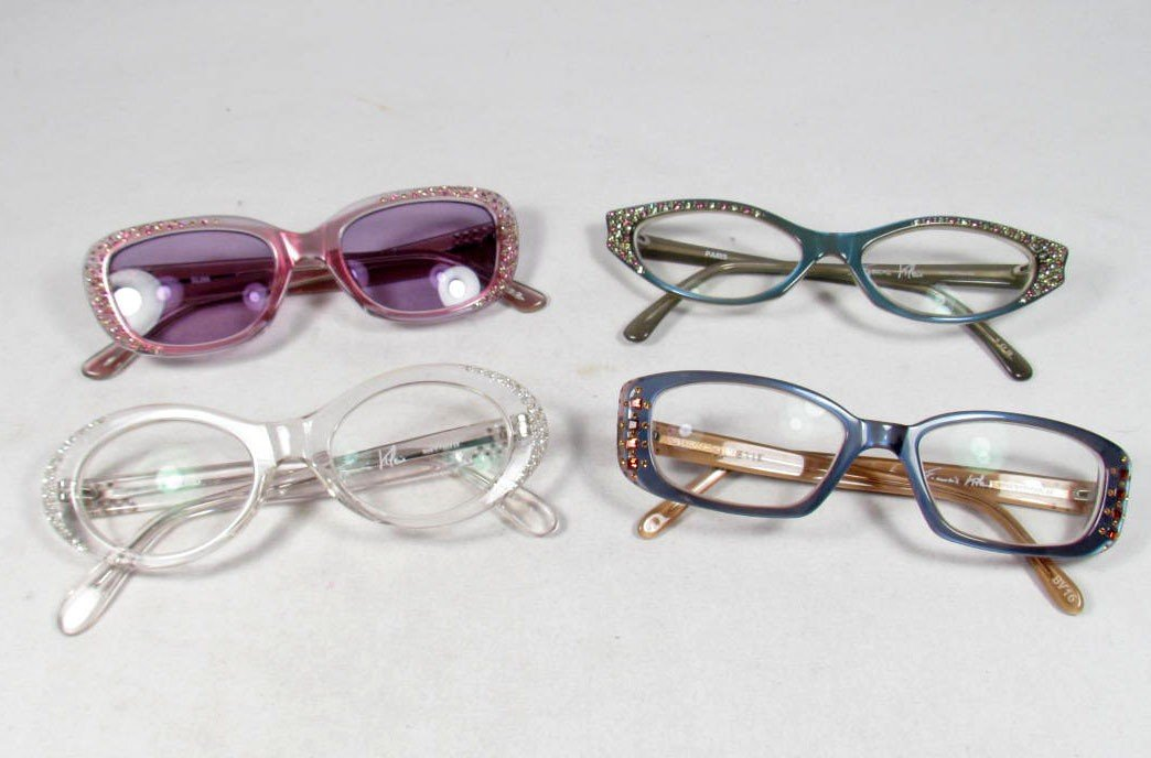 2: LOT OF 4 PAIRS OF FRANCIS KLEIN JEWELED EYE GLASSES