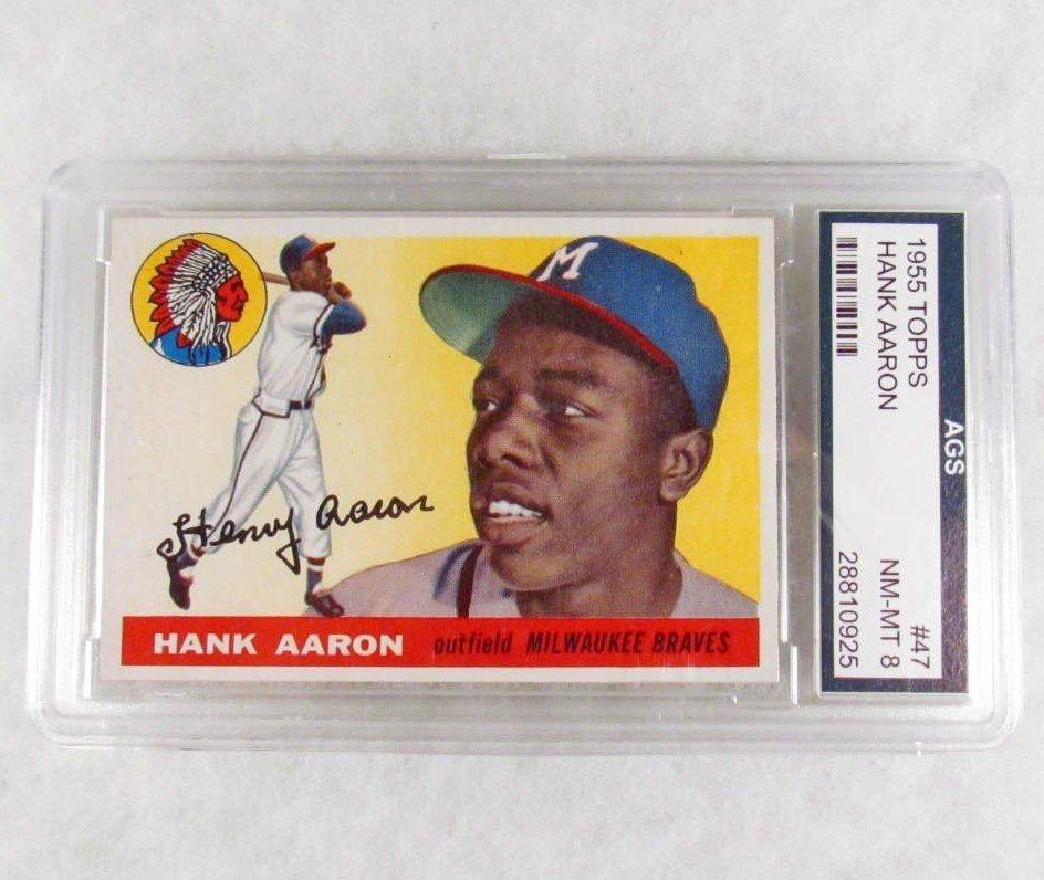 22: 1955 TOPPS HANK AARON NO. 47 BASEBALL CARD - AGS NM