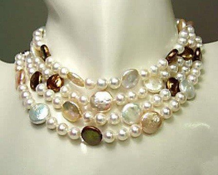 """23: 80 """" GENUINE COIN PEARL NECKLACE"""
