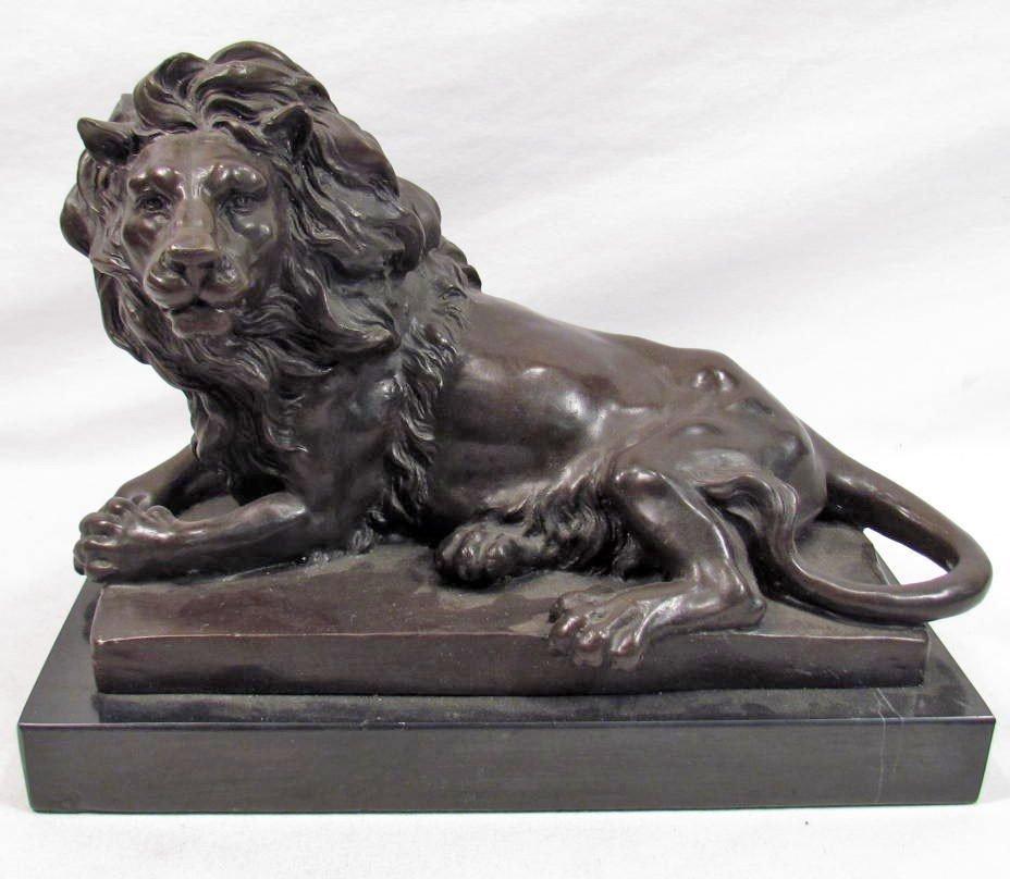 50: AFRICAN LION BRONZE SCULPTURE AFTER BARYE
