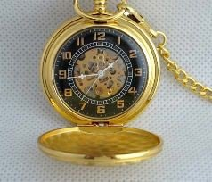 2: MWF1442 Classic Mens Gold Pocket Watch with Chain.