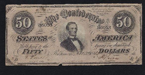 5: MWF912E 1864 Confederate $50 Note, Richmond, Number