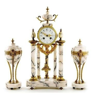 14: French Marble and Ormolu Portico Clock Garniture ci