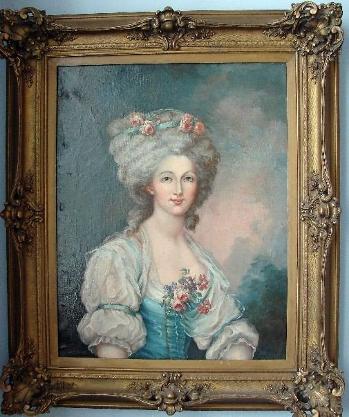 15: OIL ON CANVAS - 'Portrait of a French Beauty'