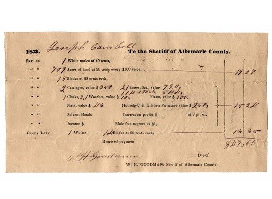 18: FY404   ANTEBELLUM TAX DOCUMENT, Albemarle County,