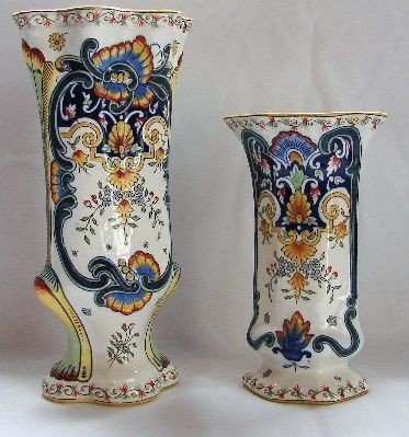 """54: FY129W PAIR French Vases white Measures 12"""" and 8.5"""