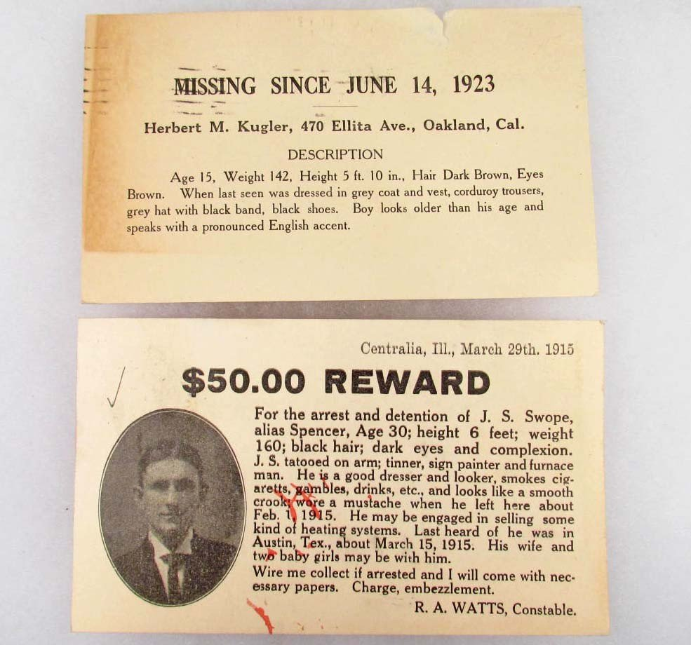 3: 1915 REWARD POSTCARD FOR EMBEZZLEMENT AND A 1923 MIS