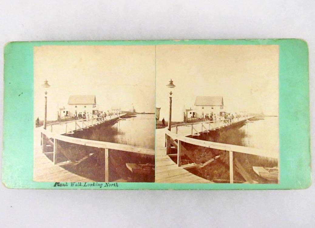 8: RARE EARLY STEREOVIEW PHOTO OF THE PLANK WALK AT MAR