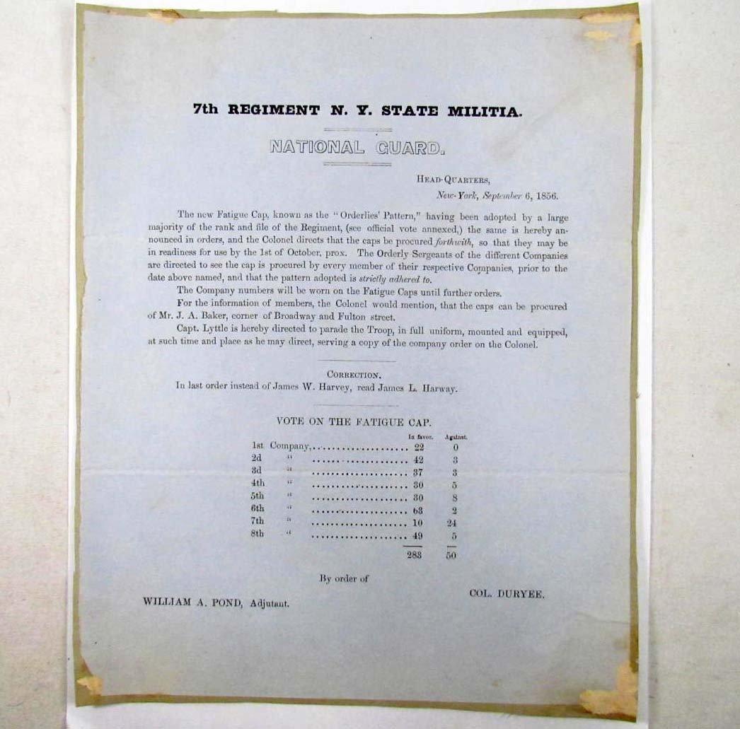 12: 1856 7TH REGIMENT N.Y. STATE MILITIA NATIONAL GUARD