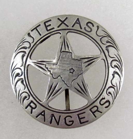 351: OLD WEST TEXAS RANGER COWBOY LAW BADGE - SILVER CU
