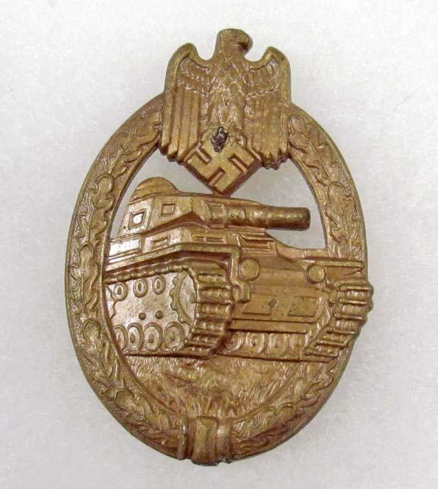 356: GERMAN NAZI ARMY BRONZE TANK ASSAULT BADGE