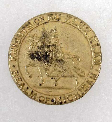 357: 1919 KNIGHTS OF KLU KLUX KLAN BRASS COIN