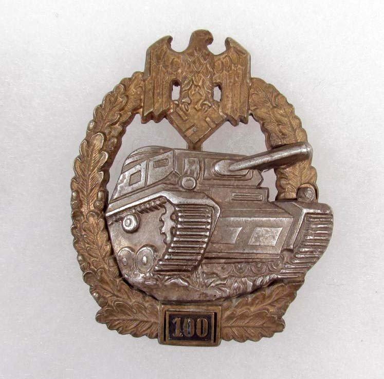 364: GERMAN NAZI ARMY '100' TANK ASSAULT BADGE