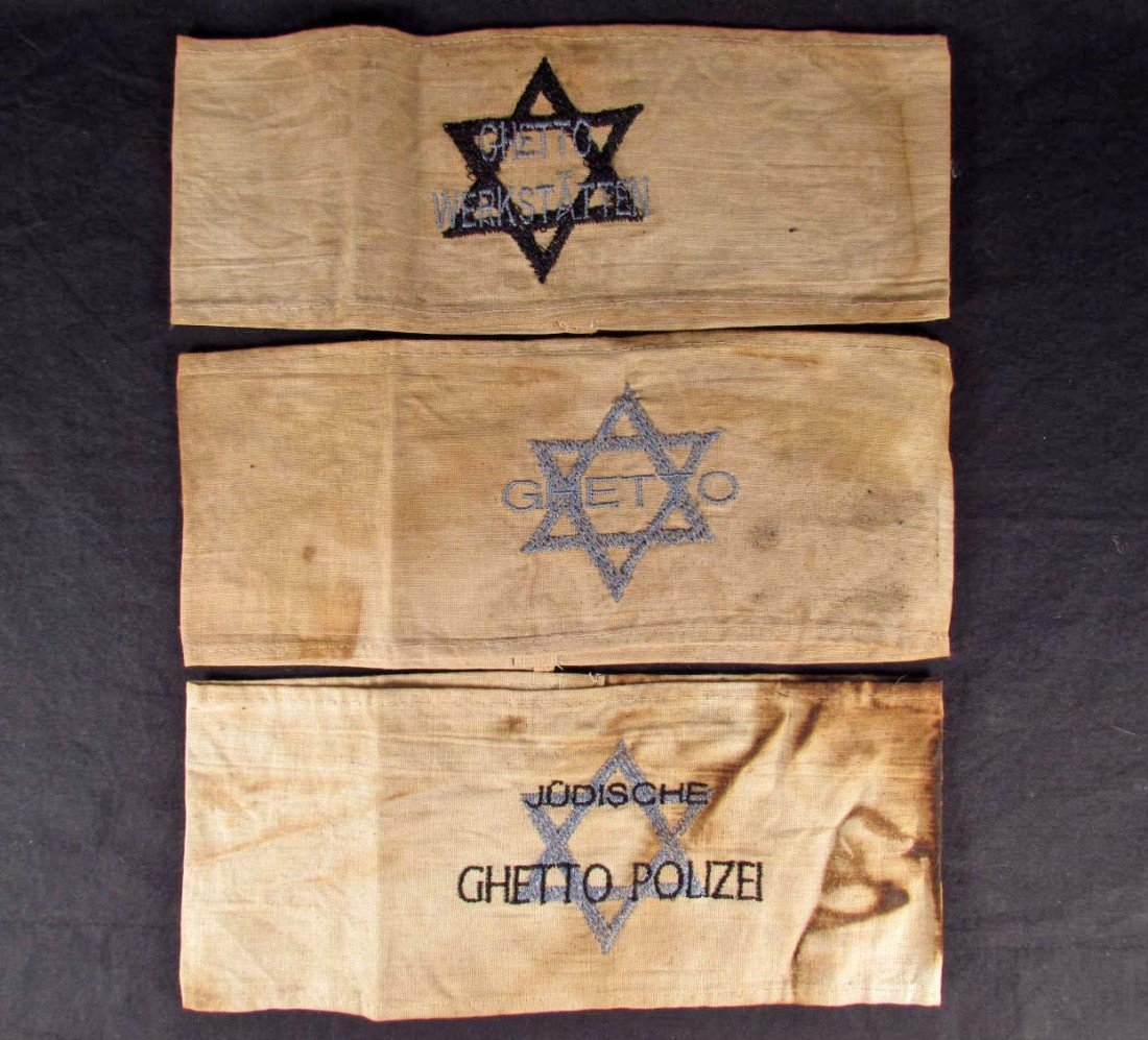 374: LOT OF 3 GERMAN NAZI HOLOCAUST ARMBANDS - GHETTO &