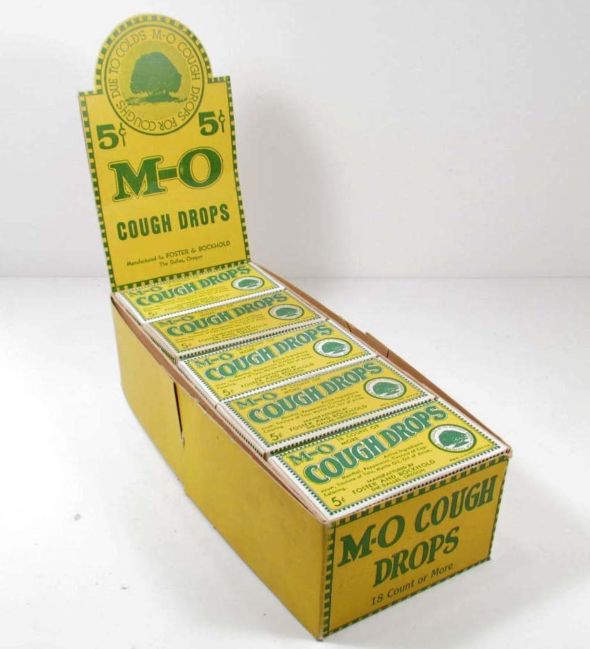 6: VINTAGE M-O COUGH DROPS FULL ADVERTISING DISPLAY