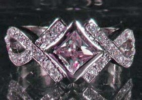11: 6991 - WHITE GOLD PLATED PINK SAPPHIRE & TOPAZ RING