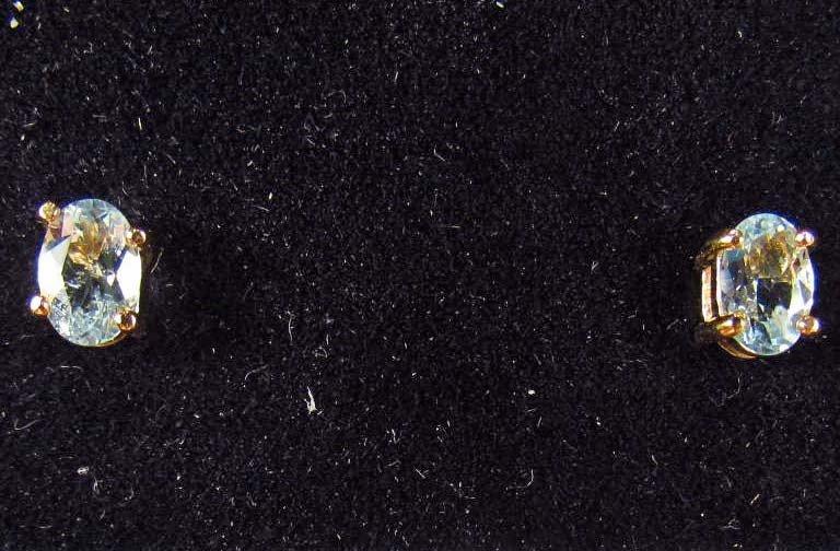20: 8751 - STERLING SILVER & SKY BLUE TOPAZ EARRINGS -