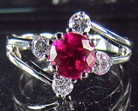 22: 8168 - WHITE GOLD PLATED RUBY & TOPAZ RING - 15.6 C