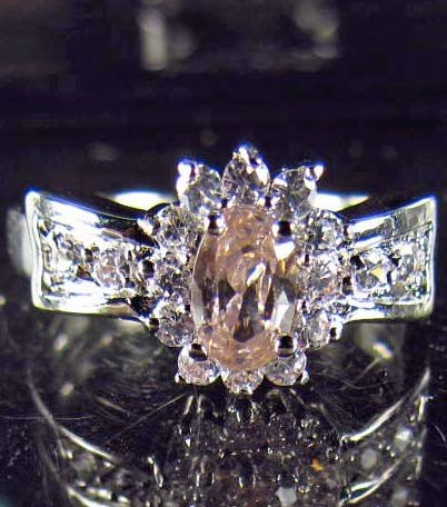 8: 8203 - WHITE GOLD PLATED PINK SAPPHIRE & TOPAZ RING
