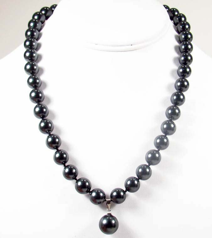 11: 8927 - SOUTH SEA BLACK SHELL PEARL NECKLACE - 10MM