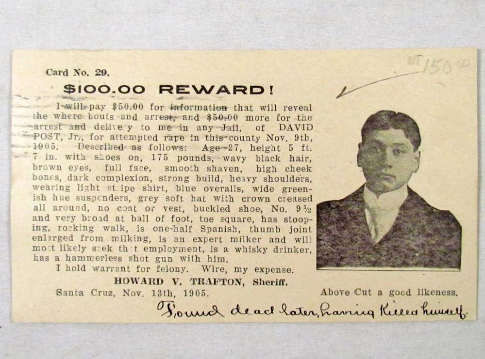 2: 1905 WANTED POSTCARD FOR ATTEMPTED RAPE