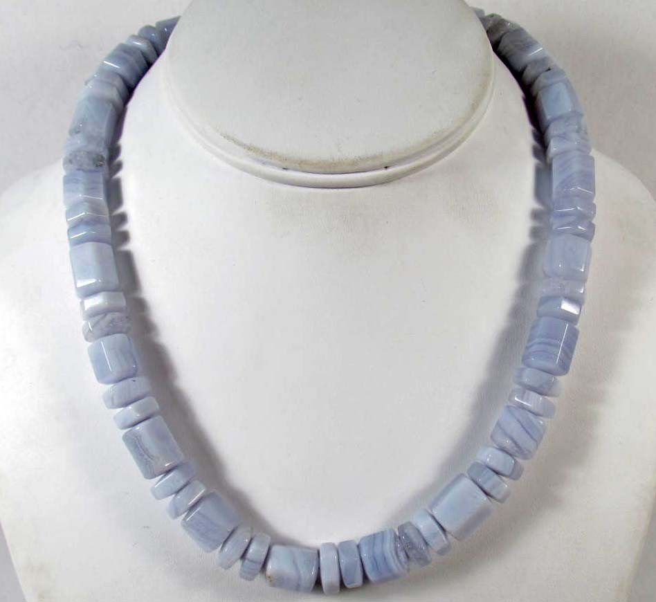 12: BLUE LACE AGATE NECKLACE W/ STERLING SILVER CLASP