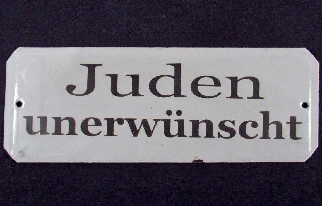 "17: GERMAN NAZI HOLOCAUST PORCELAIN SIGN ""JEWS NOT WELC"