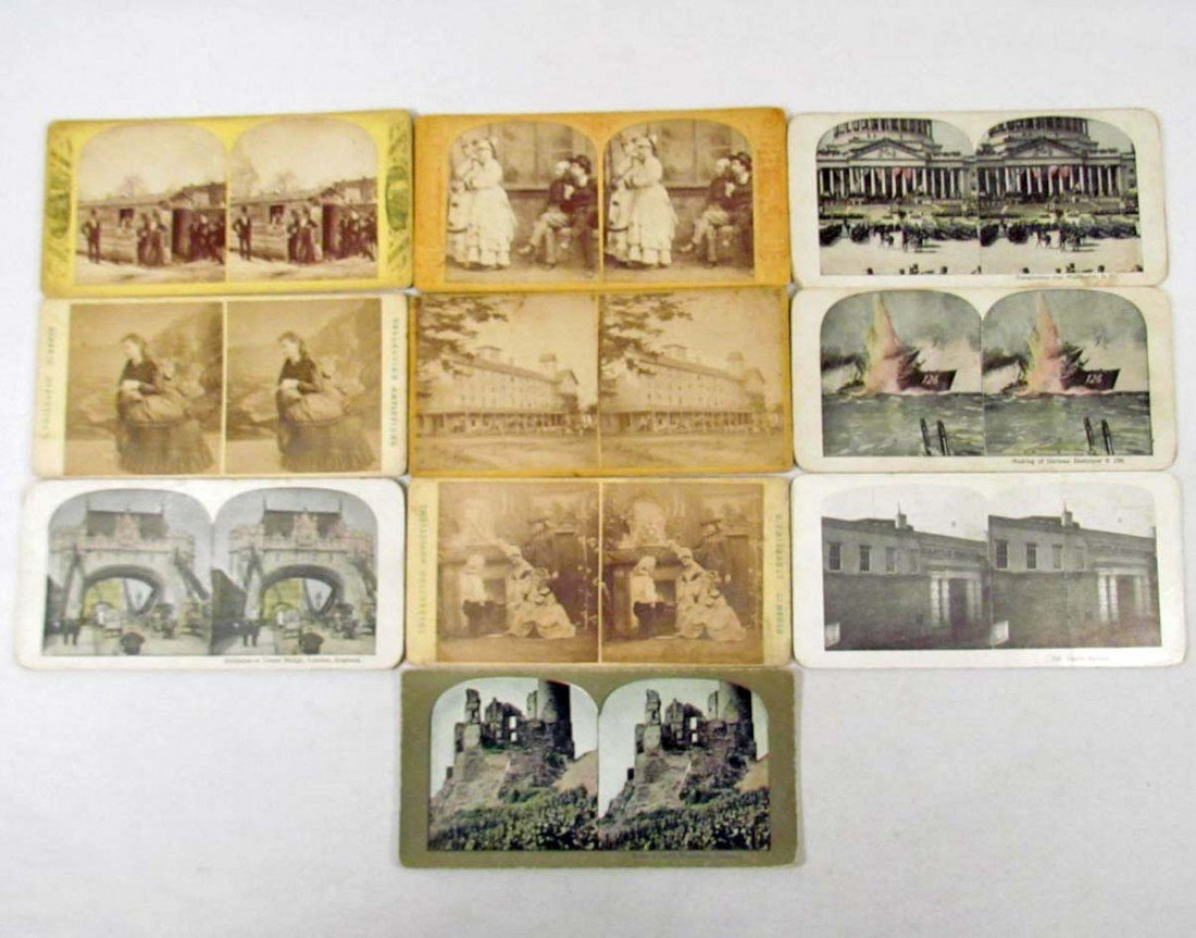 18: LOT OF 10 VINTAGE PHOTO STEREOVIEW CARDS