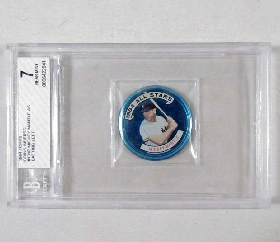 22: 1964 TOPPS MICKEY MANTLE COIN - GRADED 7 NEAR MINT