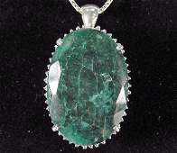 304A STERLING SILVER EMERALD AND SAPPHIRE PENDANT W C