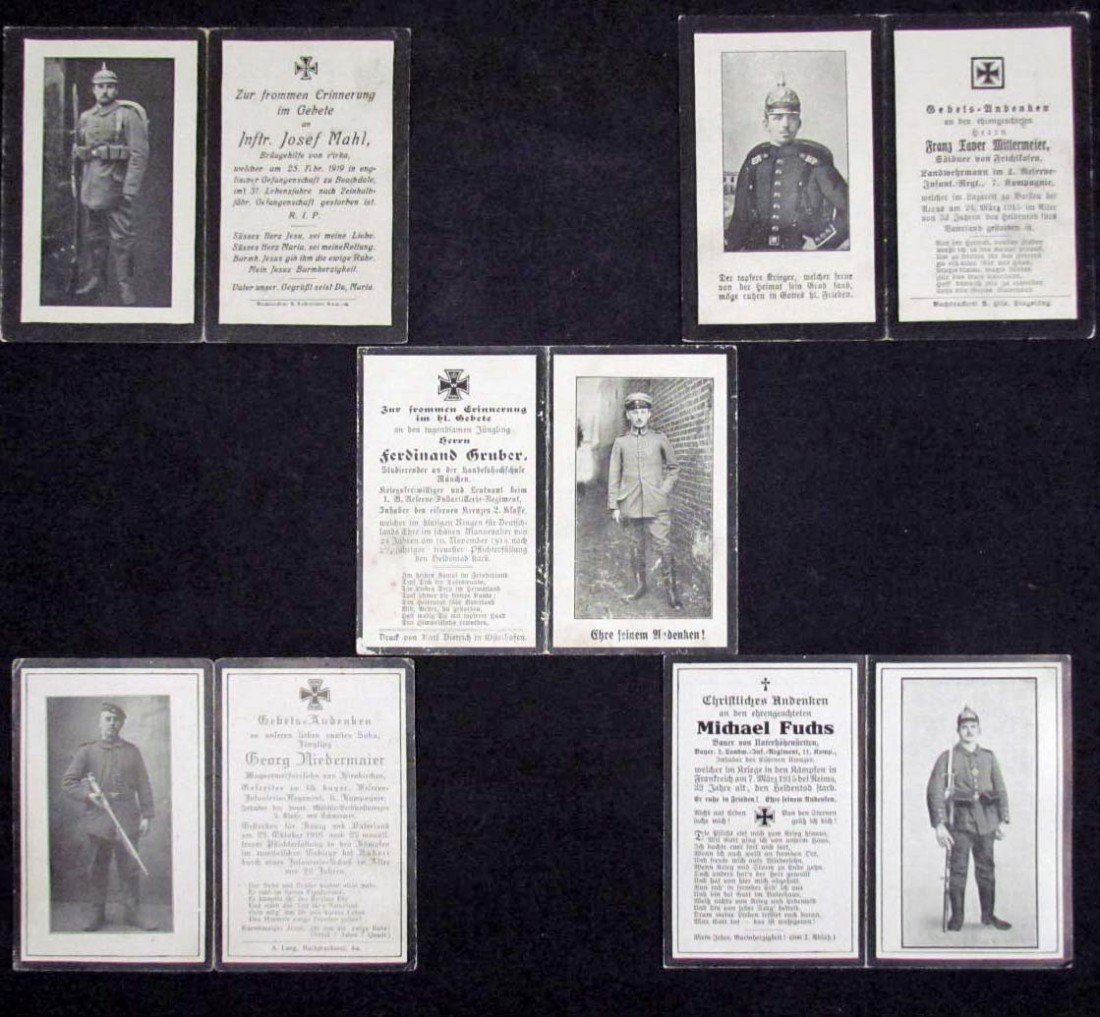 1: LOT OF 5 - IMPERIAL GERMAN SOLDIER DEATH CARD NOTICE
