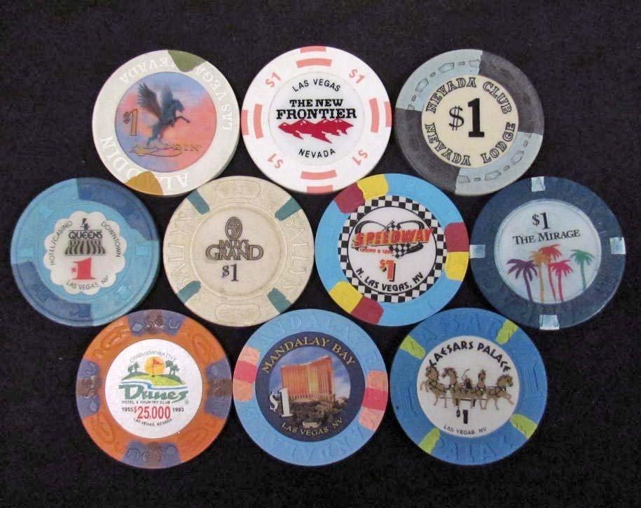 3: LOT OF 10 - OBSOLETE NEVADA CASINO GAMBLING CHIPS