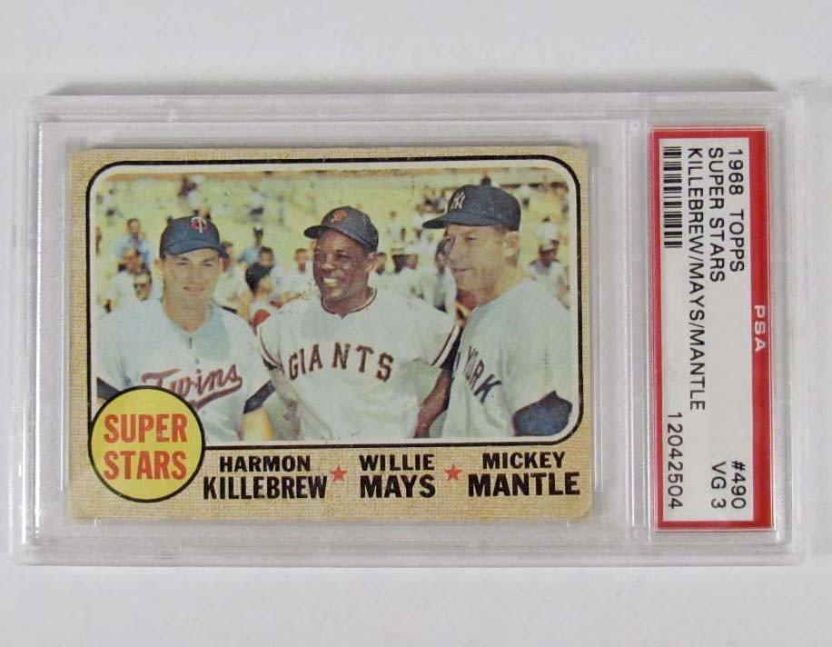 13: 1968 TOPPS SUPER STARS NO. 490 BASEBALL CARD - PSA