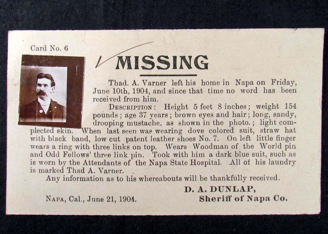 2: 1904 WANTED POSTCARD FOR A MISSING MAN W/ PHOTO FROM