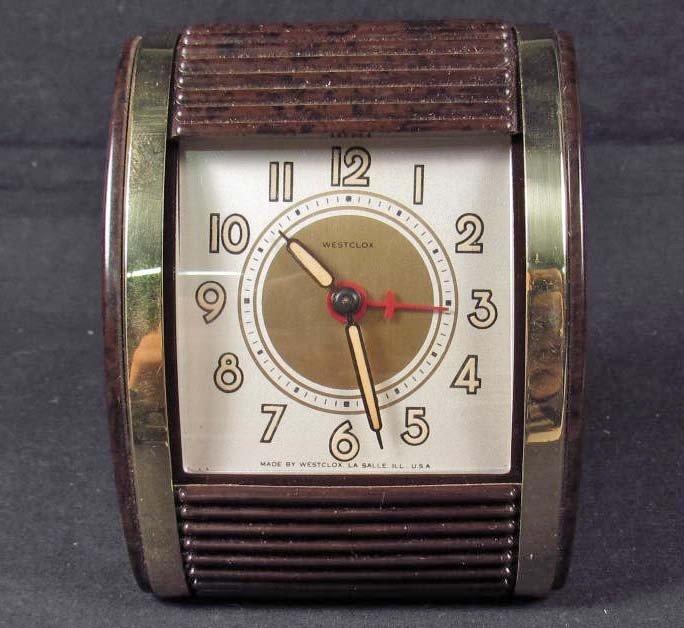 5: VINTAGE BAKELITE WESTCLOX TRAVEL ALARM CLOCK - MODEL