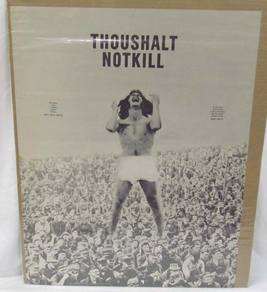 "9: 1967 HUMAN BEING POSTER - ""THOU SHALT NOT KILL"""