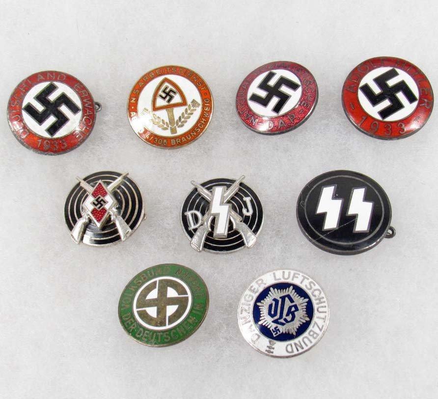 11: LOT OF 9 GERMAN NAZI ENAMELED PARTY BADGES