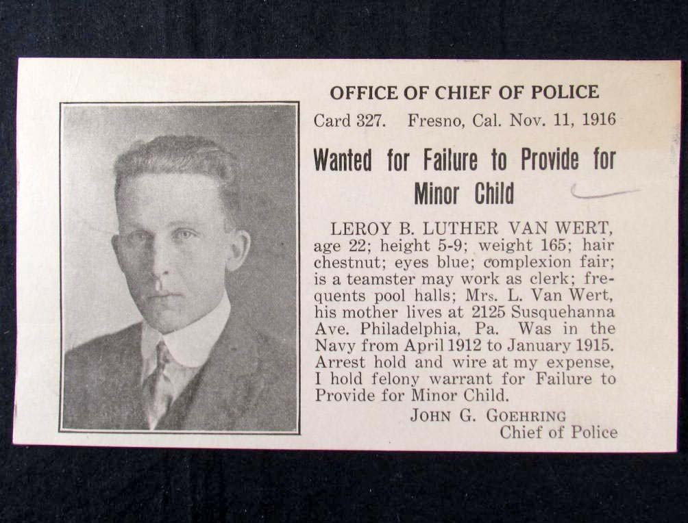 15: 1916 WANTED POSTCARD - FAILURE TO PROVIDE FOR MINOR