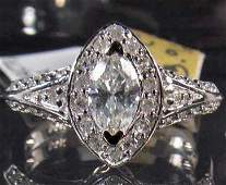 217: 14K WHITE GOLD LADIES DIAMOND RING - SIZE 7