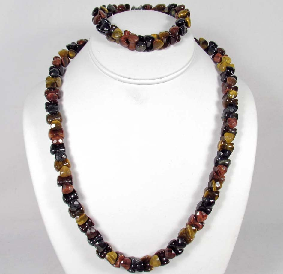 2: TIGER EYE ESTATE JEWELRY SET W/ STERLING SILVER CLAS