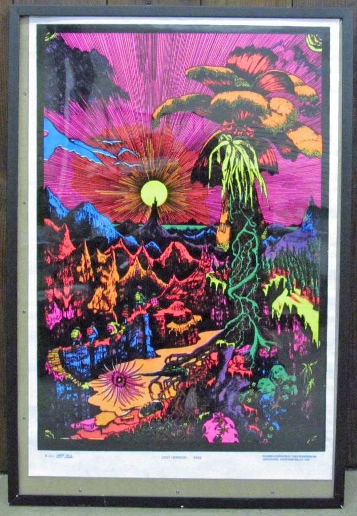 "5: 1974 VELVET AND BLACK LIGHT POSTER ""LOST HORIZON"""